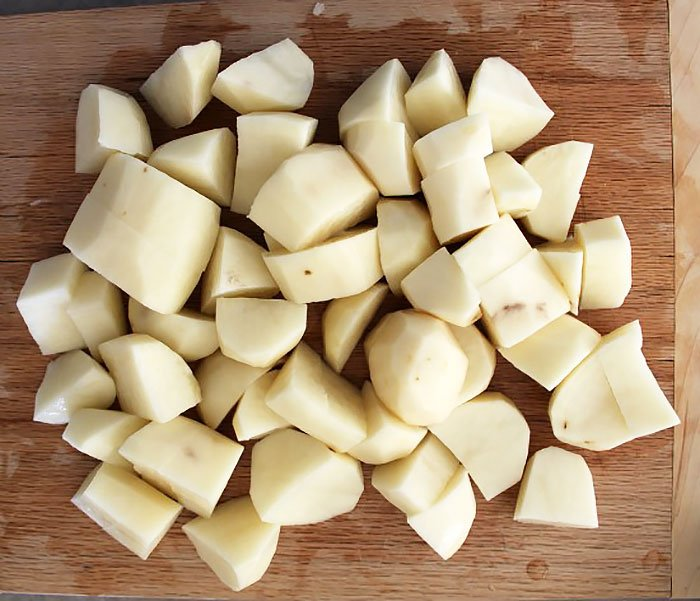 Cube your potatoes