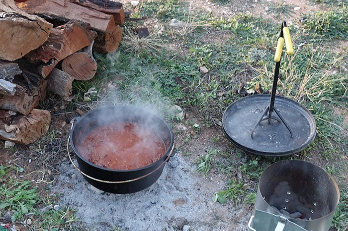 Cooking Dutch Oven Chili with the lid off to thicken it up