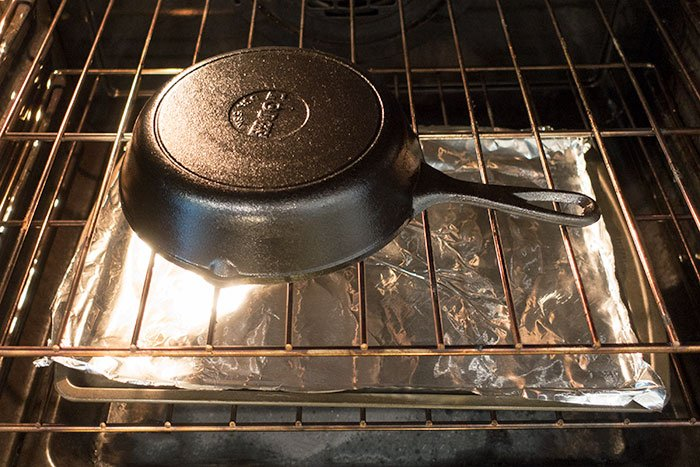 Place Cast Iron in Oven Upside Down