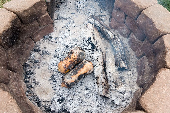 Roasting Butternut Squash Directly in Coals