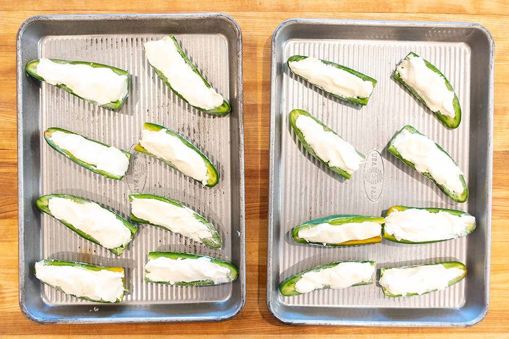Cream cheese in the jalapeno poppers