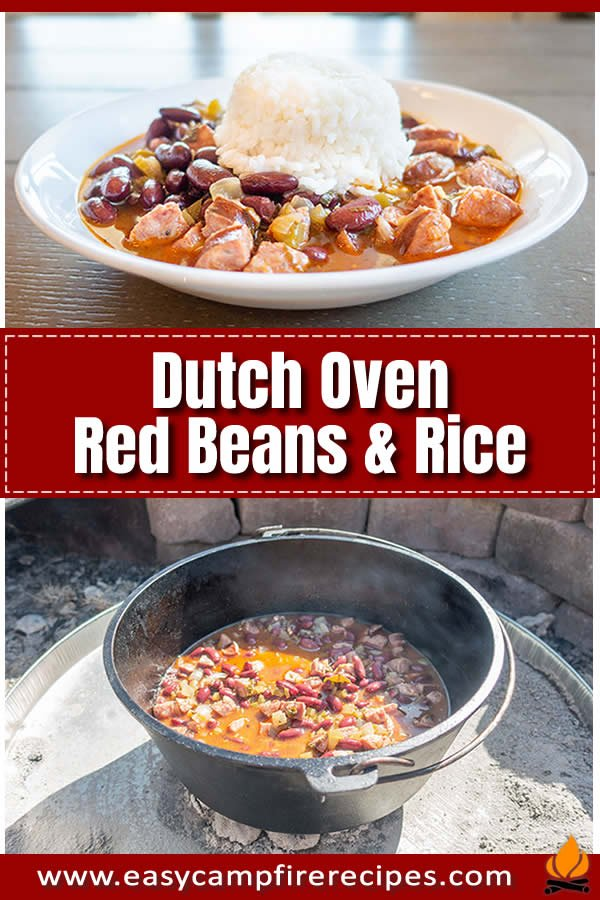 Dutch oven red beans and rice is very easy to make at your campsite and can be just as good as if it were made at home with some simple cooking techniques.