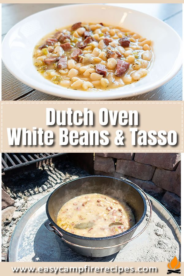 Creamy cajun style white beans and tasso are a nice change from plain old pinto beans and are excellent with some southern style cornbread.