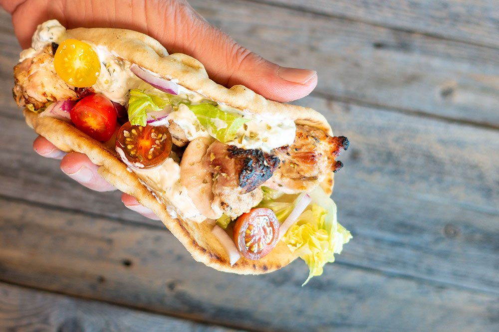 chicken kebabs with tzatziki