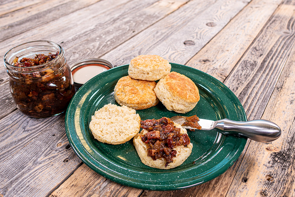 bacon jam and buttermilk biscuits